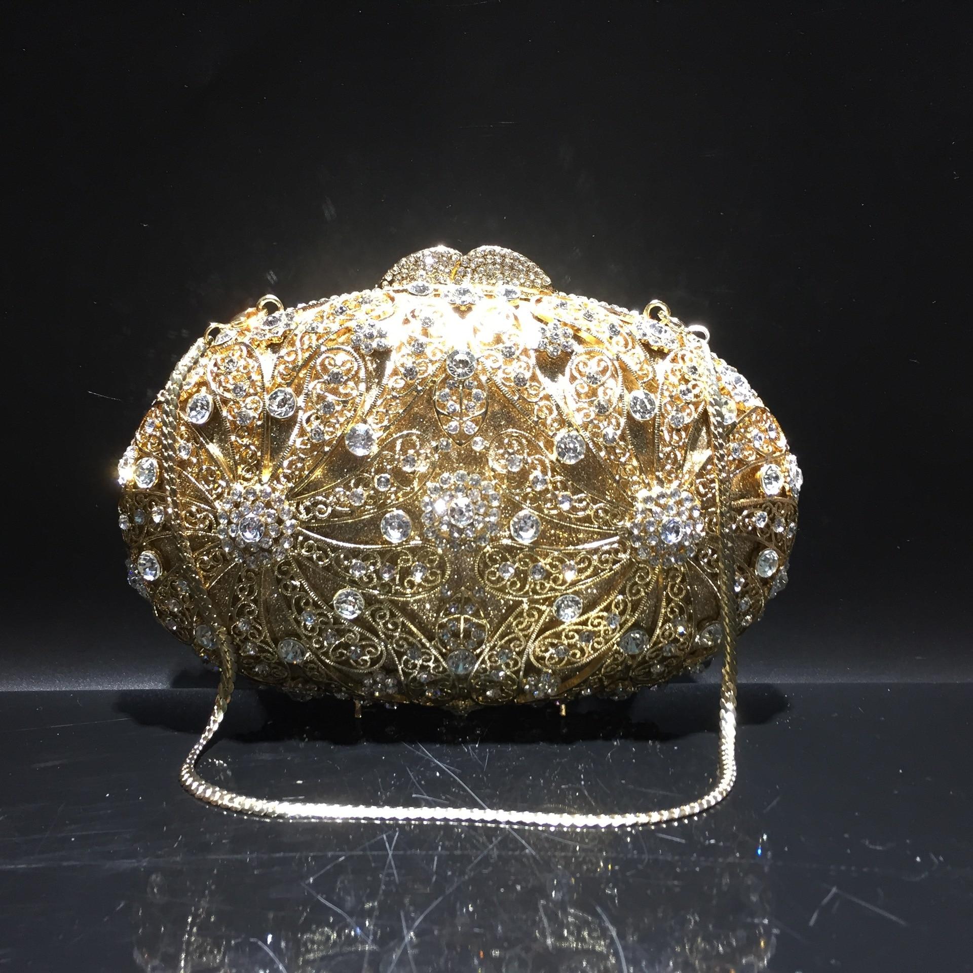 حقيبة كلاتش من حجر الراين ، 20 × 13 سنتيمتر ، حقيبة سهرة معدنية مجوفة ، a6914
