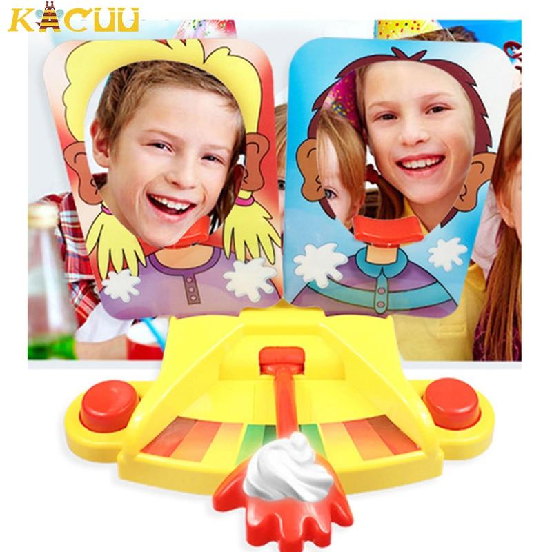 Family Party Fun Game Cake Cream Pie In The Face Funny Gadgets Prank Gags Jokes Anti Stress Toys For kids Joke Machine Toy Gift недорого