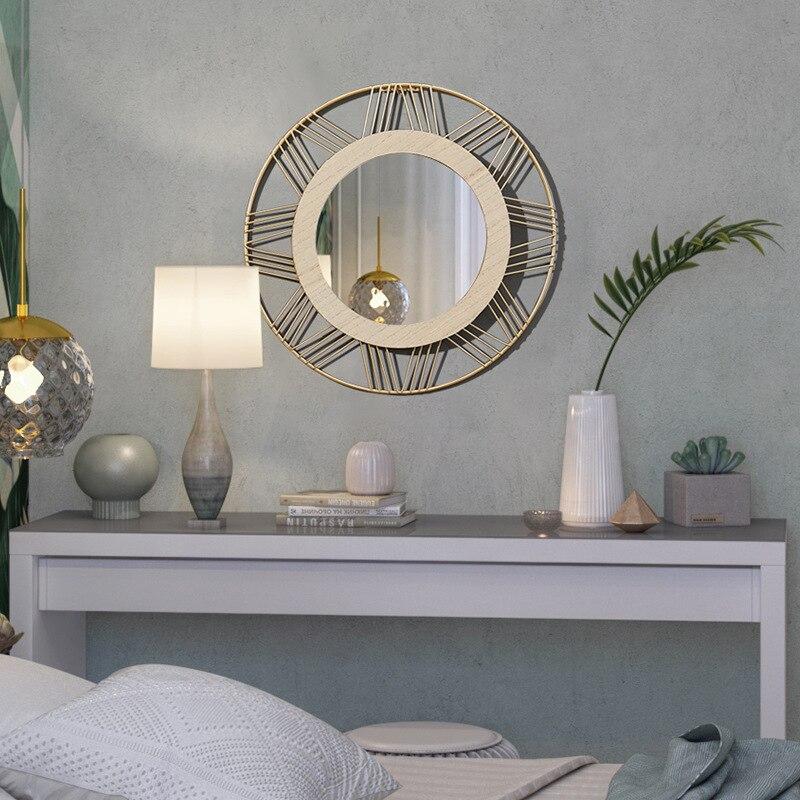 2020 nuevo estilo nórdico de Metal decoración para pared, para espejo de Metal de madera espejo de pared Decoración Para sala de estar escandinavo decoración de estilo