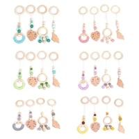 4pcsset baby nordic gym frame hanging pendants wooden ring teether molar nursing toys infant room decoration gifts