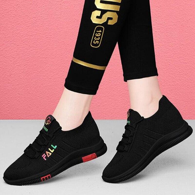 Zapatos deportivos de marca para mujer, zapatillas planas de malla transpirable con...