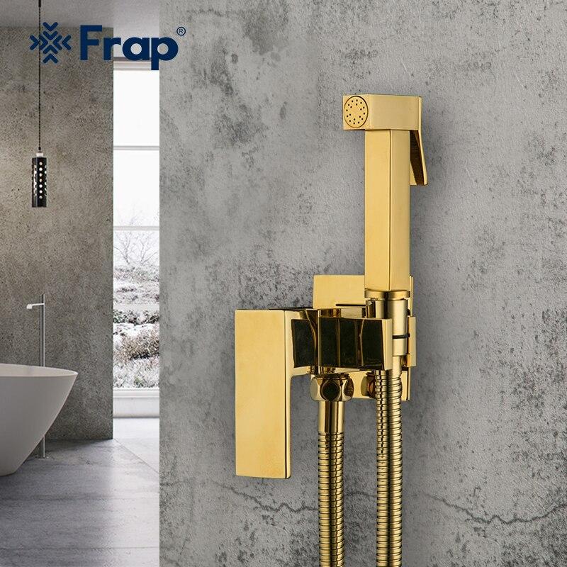 Frap جديد بيديت الحنفيات النحاس ل بيديه للحمام البخاخ الذهب الحمام بيديت دش مربع الإناث النظافة الحمار دش صنبور F7506-3