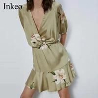 sexy women v neck stain dress 2020 summer puff sleeve pleated floral print female a line dress ruffles mini dress inkeo 9d162