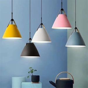 Modern Minimalist Personality Restaurant Bar Pendant Lights Nordic Macaron Single Head Iron Hanging Lamps For Bedroom Kitchen