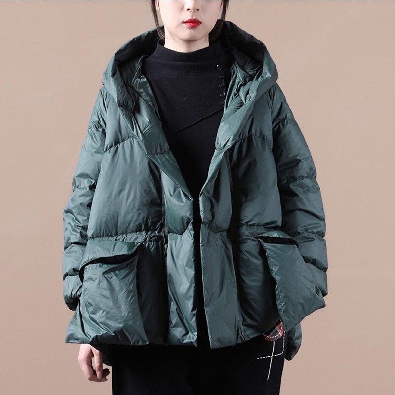 Зимнее модное пальто оверсайз, женские теплые толстые куртки с капюшоном, черные осенние повседневные парки с карманами