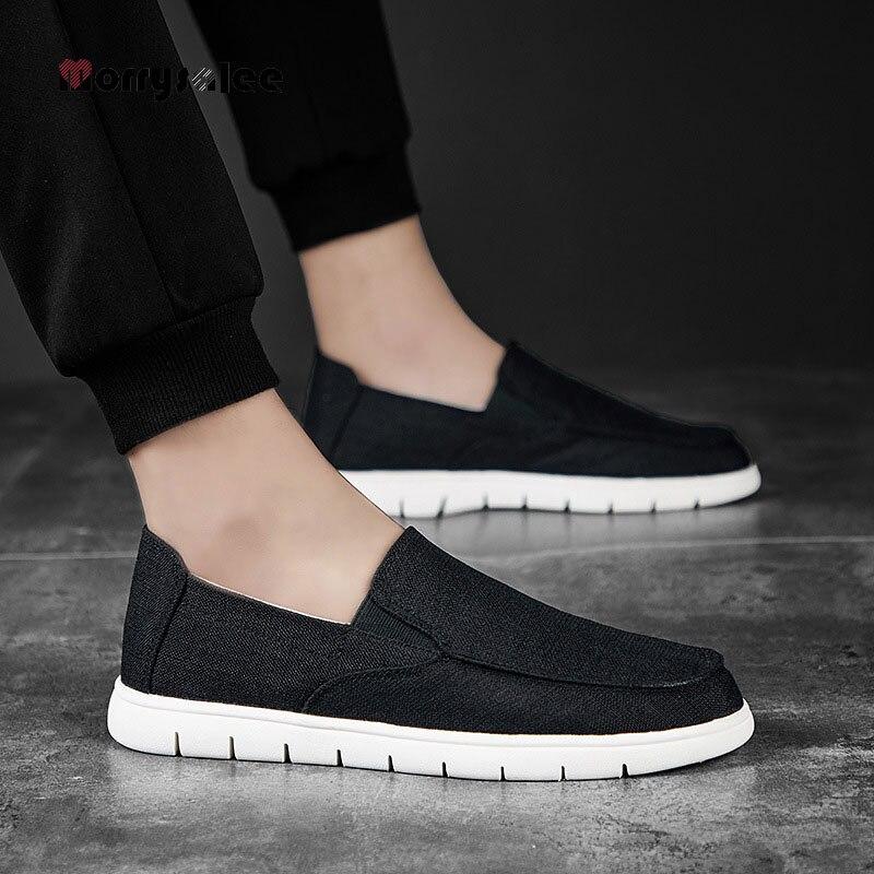 Летние мужские парусиновые туфли, Мужская модная однотонная удобная повседневная обувь, мужские легкие летние туфли, эластичные холщовые т...