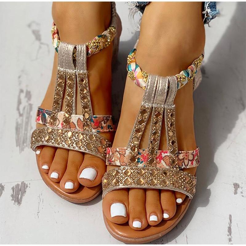 Sandalias bohemias para mujer, calzado con plataforma, Gladiador romano de cristal, calado...
