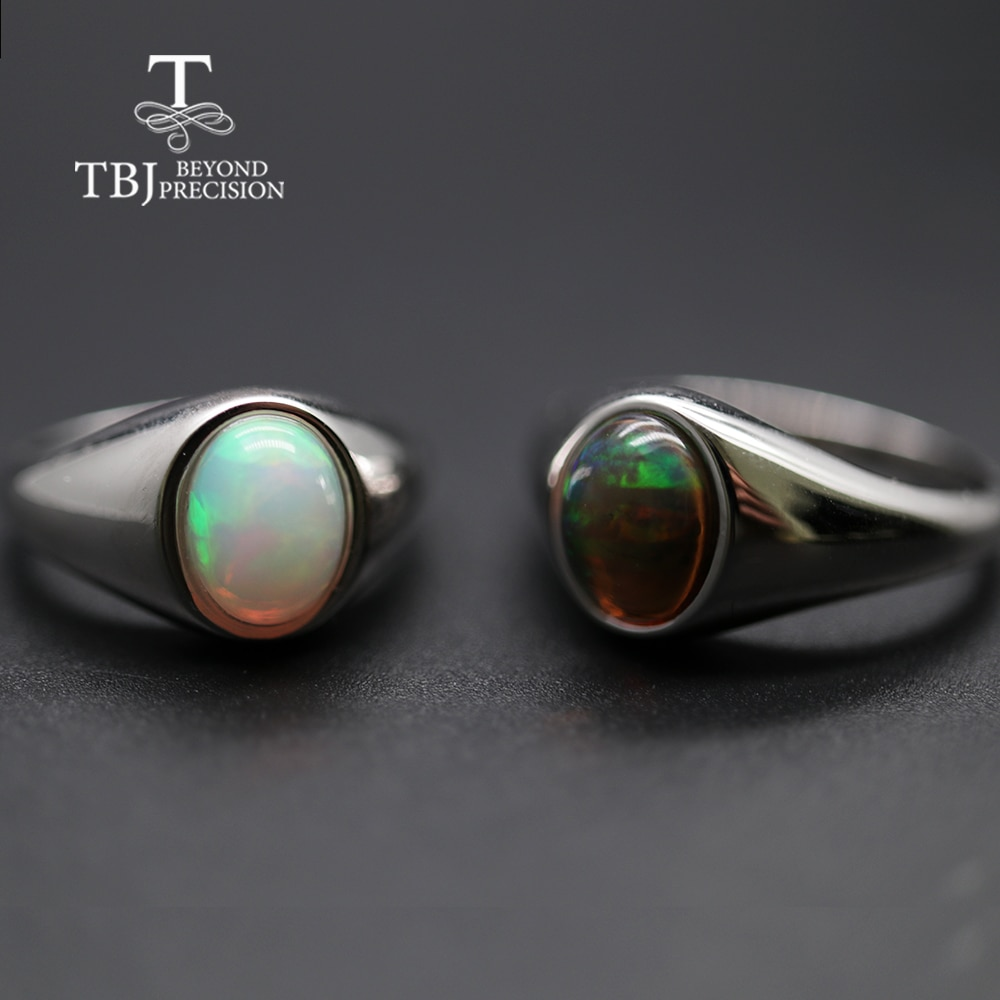 Review natural Opal Ring oval 7*9mm gemstone women Ring simple elegant fine jewelry 925 sterling silver  tbj promotion