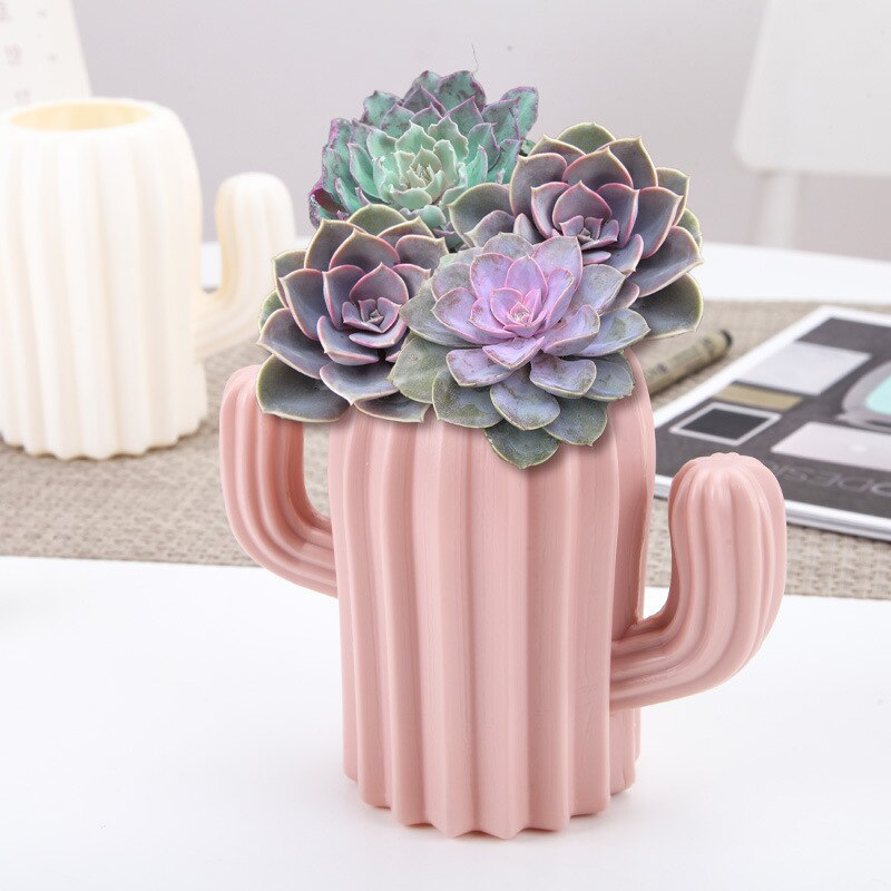 Florero de plástico para decoración del hogar, caja de almacenamiento con soporte creativo e irrompible para lapicero europeo anticerámica, Cactus, decoración de boda