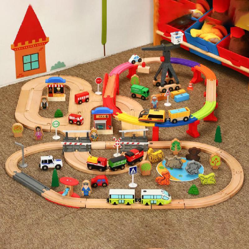 103cm de madeira pequena cor trem duplo elétrico em torno da cidade trilha crianças combinação alpinia montado brinquedos presente 109 pçs