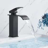 2021new black basin sink faucet waterfall outlet vanity hot cold mixer crane tap deck mount one handle wash faucets