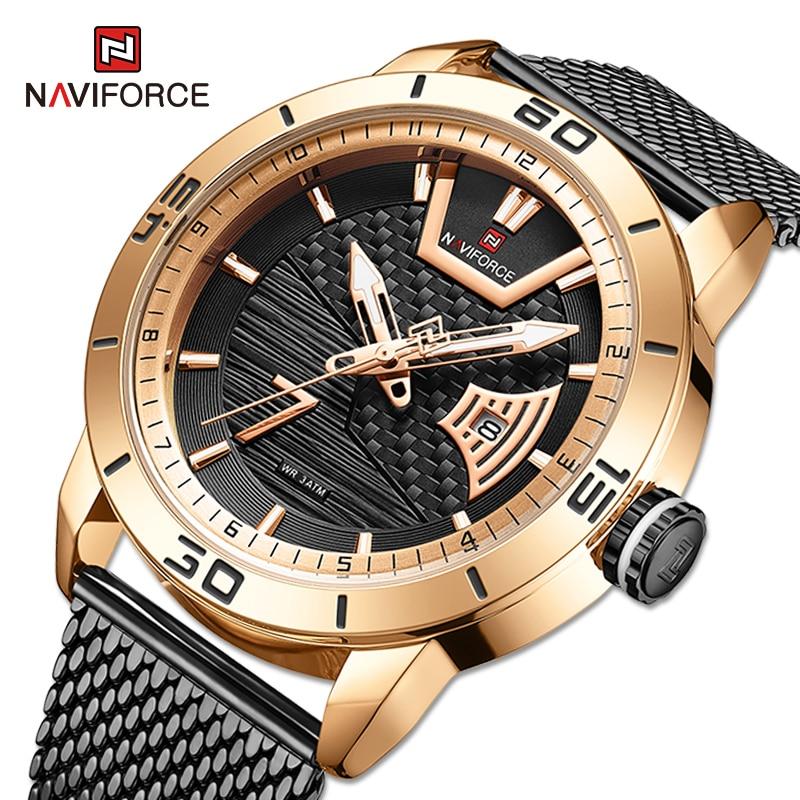 2021 NAVIFORCE Luxury Brand Watch For Men Military Sport Gold Black Quartz Calendar Waterproof Stain