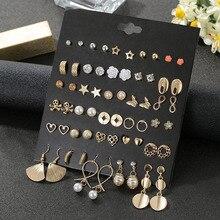 Petit doré géométrique métal déclaration coeur fleur étoile boucles doreilles pour les femmes à la mode strass perle mariage boucles doreilles cadeau