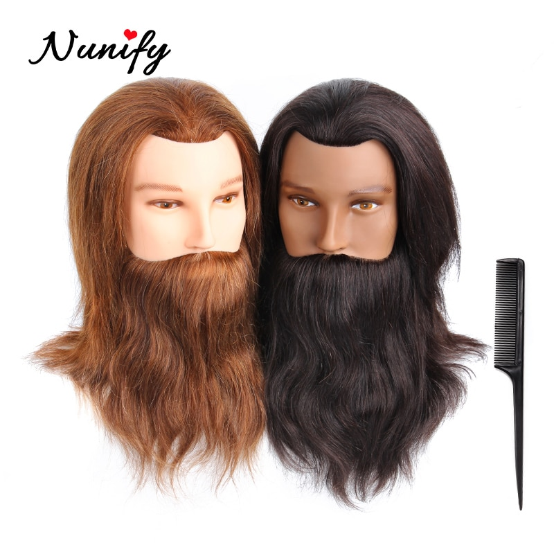 Nunify 100% Real Training Mannequin Head Male With Beard Hair Practice Cutting Hairstyles Salon Hairdresser Men Wig Heads