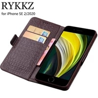 case for apple iphone se 2 luxury wallet genuine leather case stand flip card for iphone se 2020 hold phone book cover bags