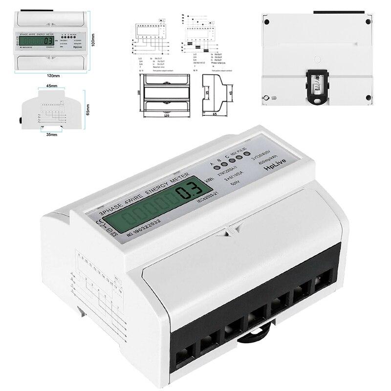 1 nuevo XTM1250SA-U LCD preciso el medidor KWh trifásico de 4 cables cumple con el estándar DIN EN50022 3x230/400 V 5 (100) A