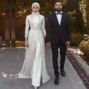 Modest Jumpsuit Muslim Evening Dresses with Coat High Collar Long Sleeve Sequin Jacket Dubai Abaya Kaftan Gown