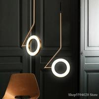 Nordic Ring Led Chandelier Luxury Rotatable Lighting Minimalist Bedroom Bedside Lamp Creative Restaurant Hanging Lamp 110v/220v