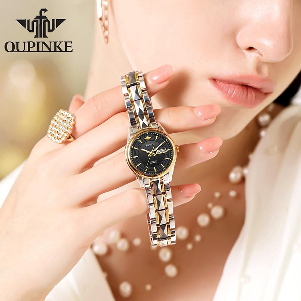 OUPINKE Fashion 4pcs Set Luxury Watches for Women Ladies Automatic Mechanical Wrist Watch Bracelet Watch Valentine's Gifts enlarge