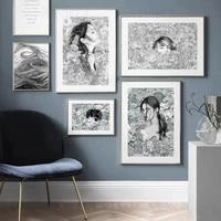 Nordique mode fille cheveux fleur noir et blanc Art abstrait toile peinture moderne affiches et impressions decor a la maison pour les filles chambre