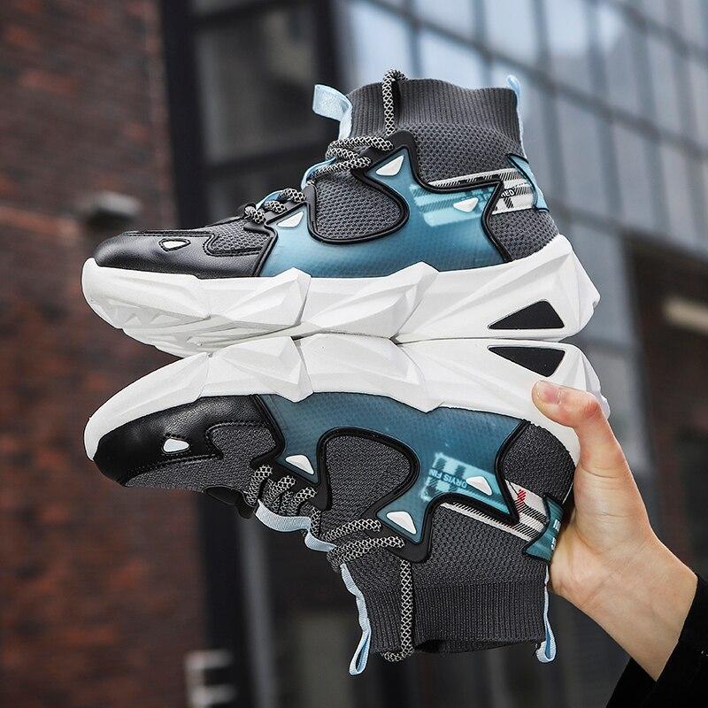 Zapatos de moda para hombre, zapatillas de deporte geniales para hombre, negro, azul, blanco, de alta calidad, zapatos informales ligeros sencillos con cordones, zapatos planos antideslizantes