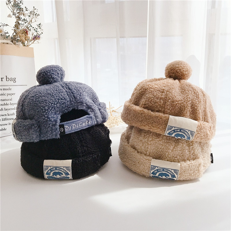 Детская шапка в японском стиле, однотонная плюшевая шапка с ярлыком, шапка с дыней, модная детская фланелевая теплая шапка