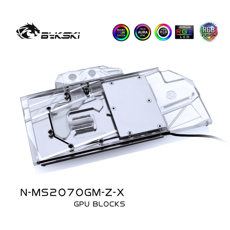 Bykski N-MS2070GM-Z-X ، غطاء كامل بطاقة جرافيكس كتلة تبريد المياه ، لألعاب MSI RTX2070 Z/ RTX2070 درع 8G OC