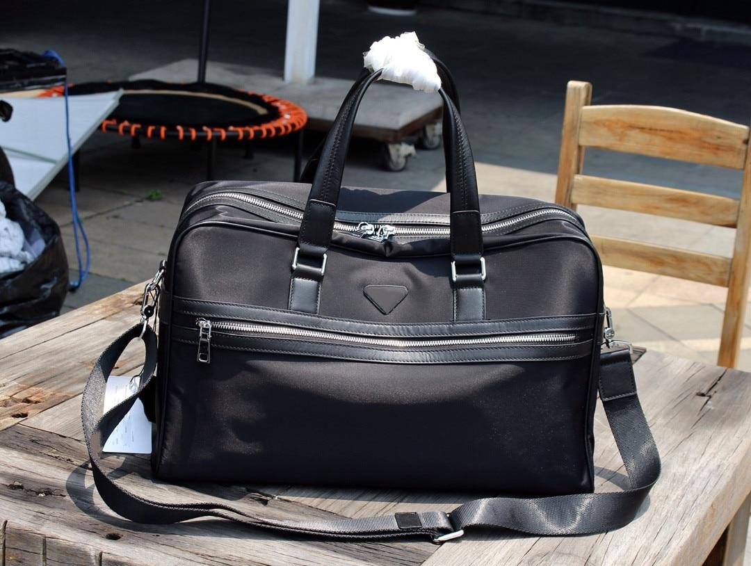Men's black nylon travel bag, men's waterproof travel bag, casual business handbag, large capacity messenger bag