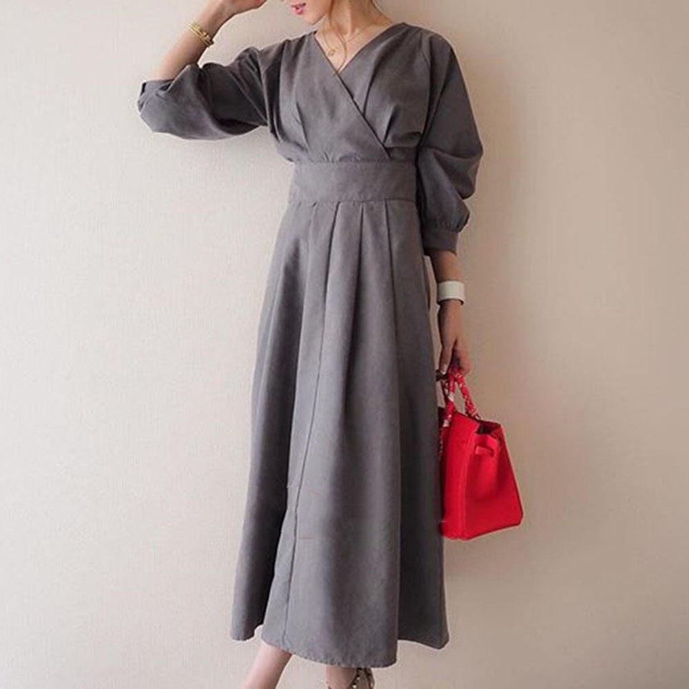 2021 Summer New Thin Temperament Solid Color Japanese Style Korean Fashion Retro High Waist V-neck 7