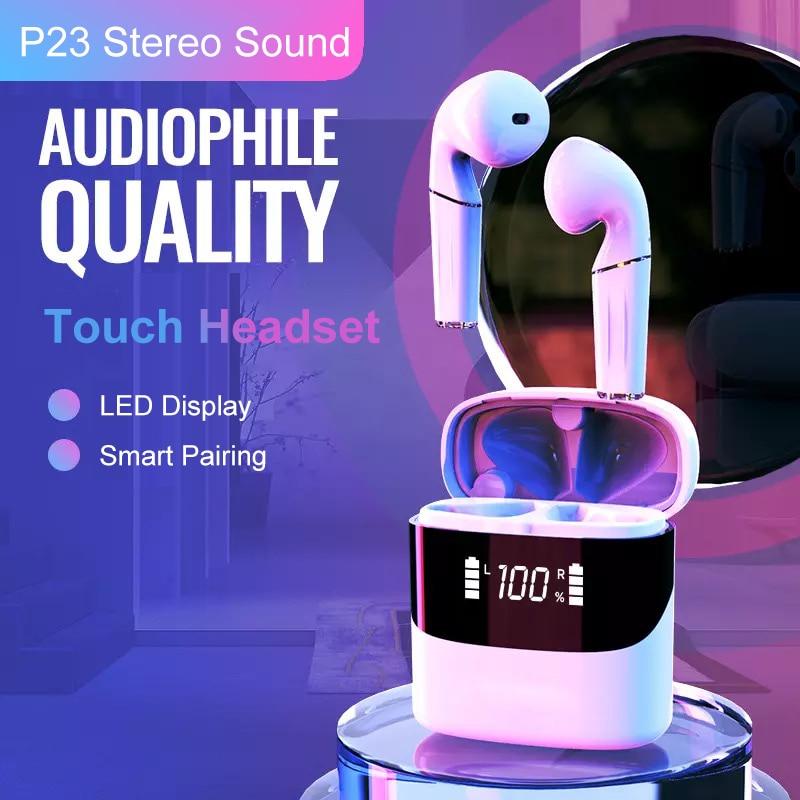 TWS auriculares inalámbricos Bluetooth V5.0 auriculares deportivos auriculares llamada HD HIFI sonido LED con Control táctil pantalla 9D Stereo