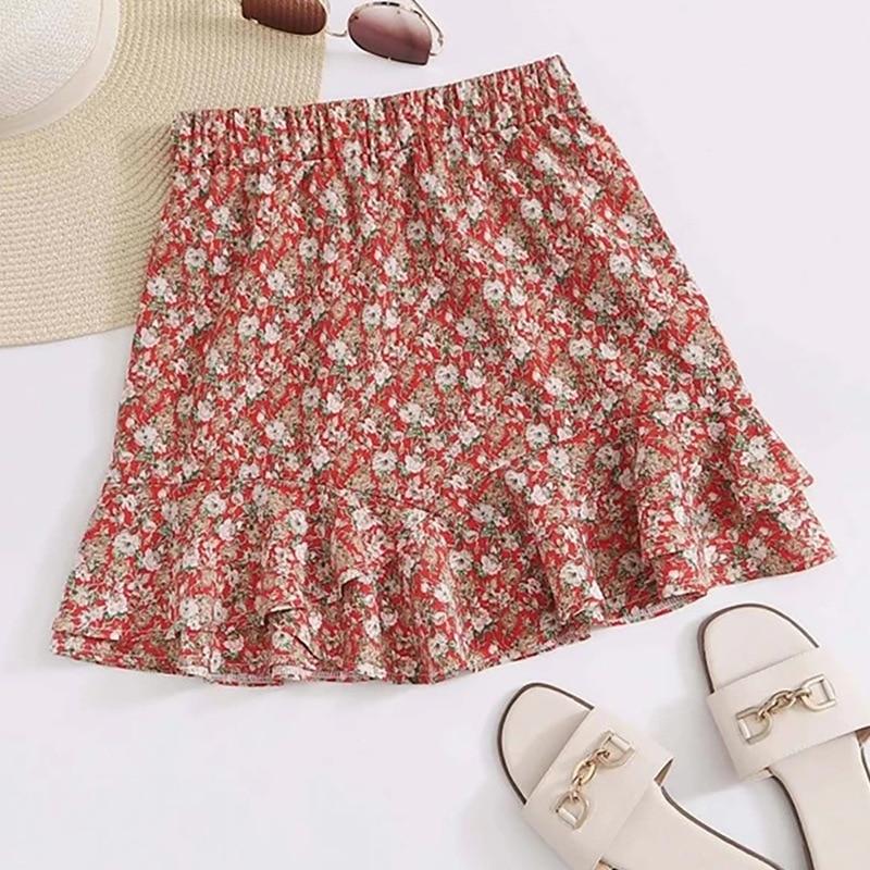 2020 Summer European and American New Holiday Floral zaraing vadiming sheining women skirt Ruffle Beach Chiffon female Skirt