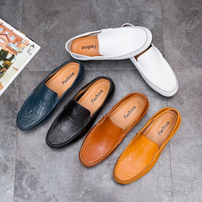 2019 zapatos de moda para hombres, mocasines cómodos casuales de cuero genuino, mocasines masculinos, calzado transpirable impermeable para conducir