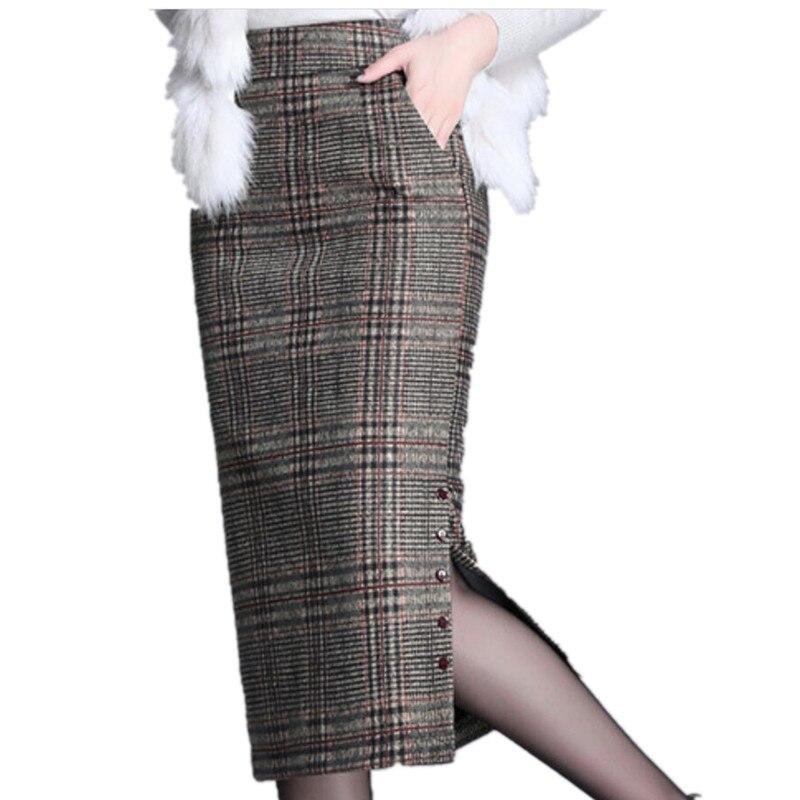 حجم كبير 4XL!2021 تنورة الشتاء منقوشة الصوفية المرأة عالية الخصر packag الورك انقسام مكتب سيدة تنّورة مجسّمة
