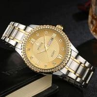 wwoor gold stainless steel men watch luxury business luminous diamond quartz watch waterproof date clock wristwatch reloj hombre