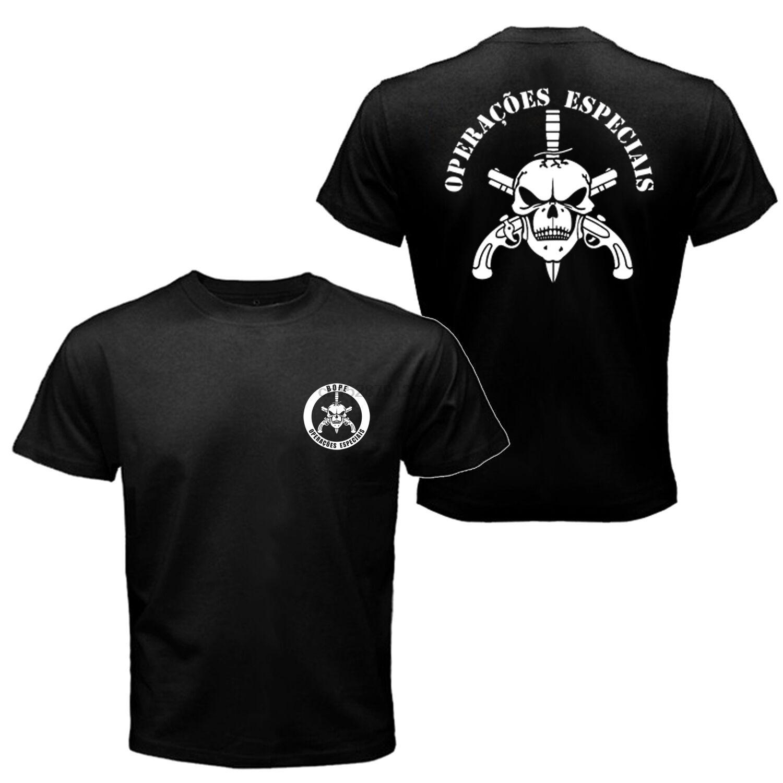 Camiseta de policía militar de la unidad de la Fuerza Especial de Brasil del escuadrón de la muerte de la élite de Bope 2019