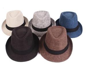 2019New Men's Hats Classical Wide Brim Hat Solid Dad Vintage Fedora Hat Autumn E
