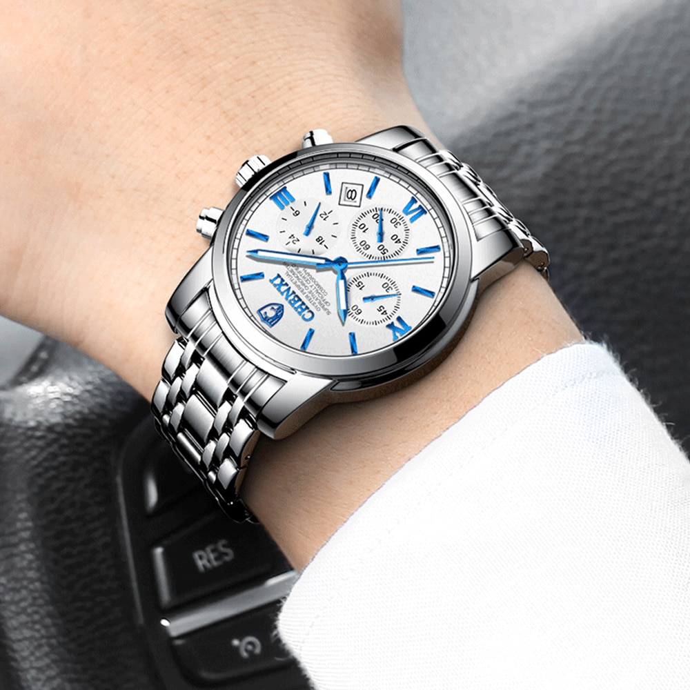Top Brand Men Watches Fashion Luxury Stainless Steel Quartz Watch Chronograph Waterproof Business Men Wristwatch Reloj Hombre 2020 lige watches mens top brand luxury sport quartz chronograph stainless steel men watch fashion waterproof clock reloj hombre