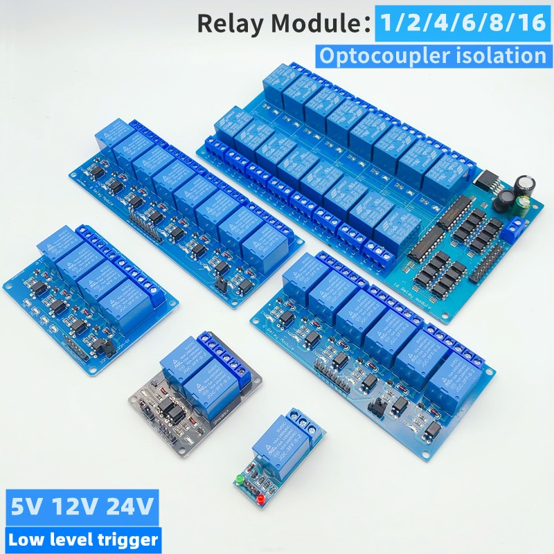 5/12/24V 1/2/4/6/8/16 relay module 8 channels, with optocoupler relay output 1 2 4 6 relay module 8