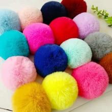 Real Fur Ball 6cm Pompom Keychain Car Pompon Rabbit Fur Ball Keychain Fur DIY Bag Charms with Fluffy