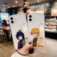 kimetsu no yaiba phone case for iphone 11 12 pro mini 7 8 plus x xs xr max cover hand band cases soft tpu