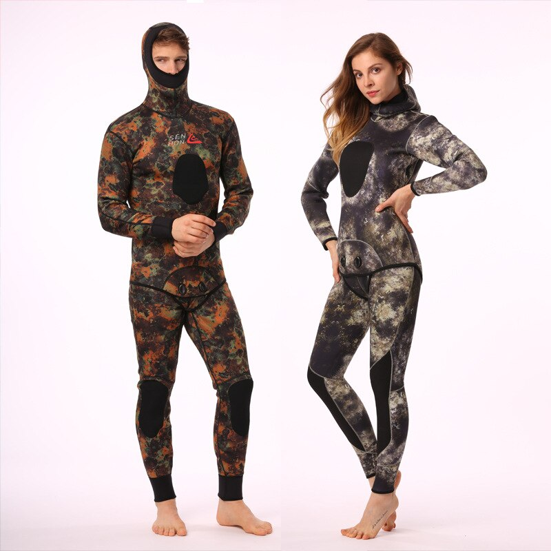 Women 3MM/5MM Two Pieces Scuba Long Sleeve Keep Warm Thermal Wetsuit Snorkeling Spearfishing WetSuit Surfing SwimSuit Plus Size