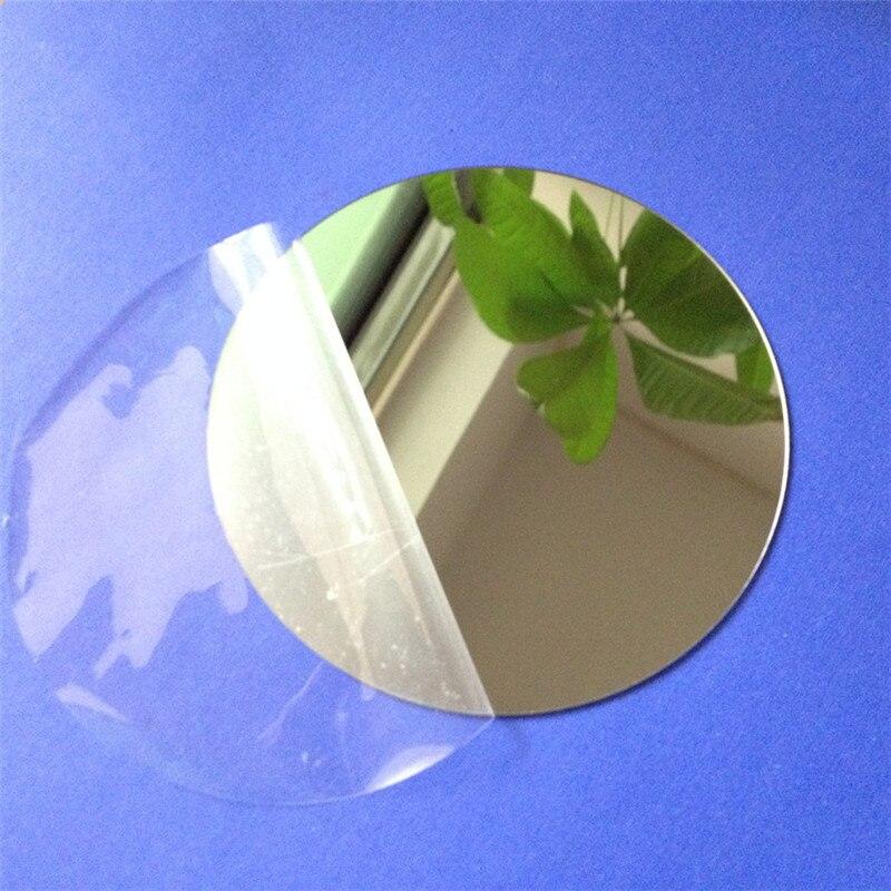 Espelhos de parede 100x1mm de diâmetro, adesivos de folha redonda de plástico, vidro de pmma, lente decorativa para hotel, espelho com 10 peças mural plak diy