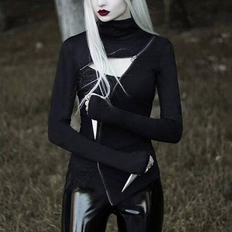 Turleneck bodycon preto camisetas femininas gótico punk zíper oco para fora manga longa camiseta streetwear festa sexy goth topo