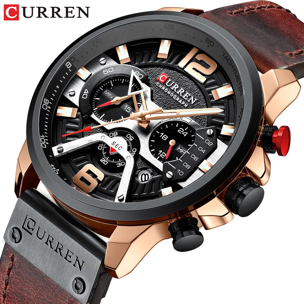 CURREN Casual Waterproof Watches for Men Top Brand Luxury Military Leather Wrist Watch Man Clock Fashion Chronograph Wristwatch