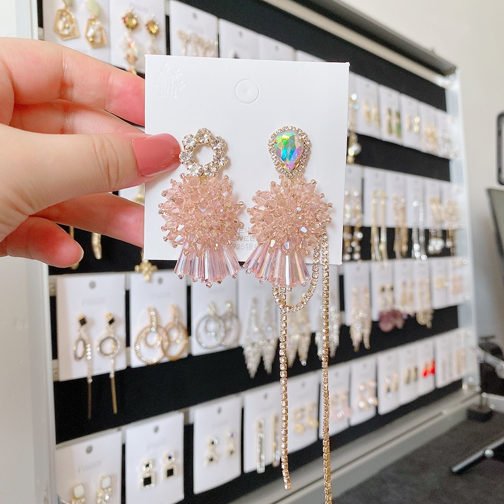 Ztech yeni kore lüks çiçek kristal damla küpe kadınlar için zarif Rhinestone püskül uzun Pendientes parti takı hediye