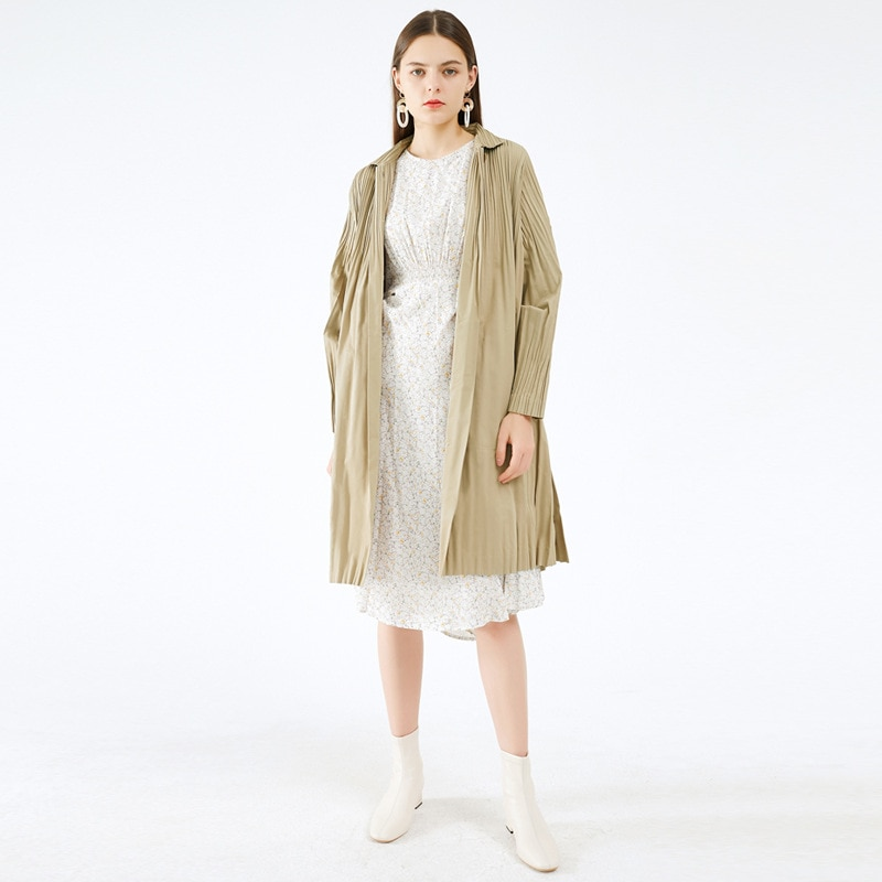 Miyake-معطف نسائي طويل بأزرار عتيقة ، سترة واقية بطيات ، موضة كورية ، خريف وشتاء 2020 ، ملابس فاخرة ، مقاس كبير