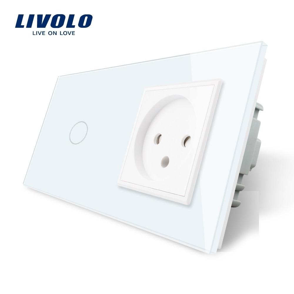 Livolo EU Standard Touch Switch+ Israel Power Socket, White Crystal Glass Panel, AC 100~250V 16A Wall Power Socket