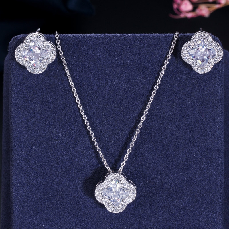 MISSFOX, joyería de lujo para mujer, pendientes de cristal coloridos, Pendientes colgantes de diamantes de moda, conjuntos de joyas, accesorios de bisutería, regalo de fiesta