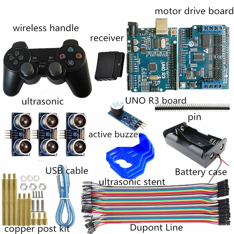 مجموعة تجنب العقبات الأوتوماتيكية بالموجات فوق الصوتية ، 3 اتجاهات ، لوحة تطوير لاسلكية PS2 ، مقبض RC ، جزء هيكل الروبوت ، DIY لـ Arduino