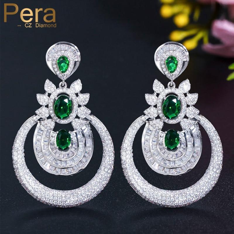 Pera-أقراط طويلة من الزمرد الأخضر اللامع ، أقراط طويلة متدلية من الزركونيا المكعبة ، إكسسوارات الزفاف ، مجوهرات حفلات الزفاف E557